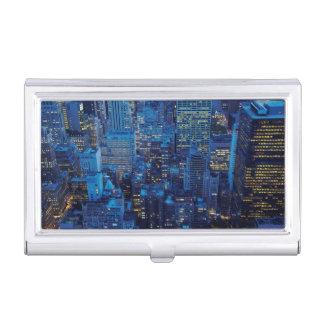 Boîtier Pour Cartes De Visite Horizon de NYC, vue courbe au crépuscule