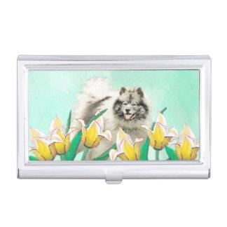 Boîtier Pour Cartes De Visite Keeshond dans les tulipes