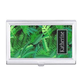 Boîtier Pour Cartes De Visite Le feuille de palmiers tropicaux | ajoute votre