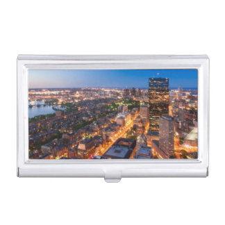 Boîtier Pour Cartes De Visite L'horizon de Boston au crépuscule