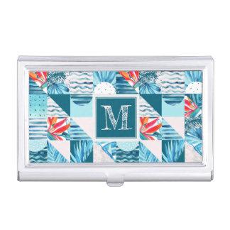 Boîtier Pour Cartes De Visite Motif abstrait géométrique turquoise tropical