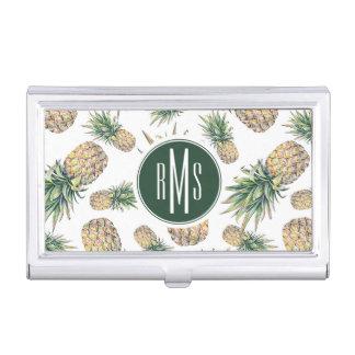Boîtier Pour Cartes De Visite Motif d'ananas d'aquarelle