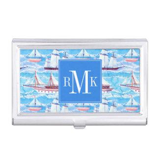 Boîtier Pour Cartes De Visite Motif de bateaux de navigation d'aquarelle
