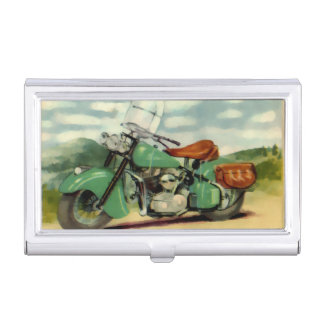 Boîtier Pour Cartes De Visite Moto de cru d'aquarelle