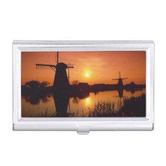 Boîtier Pour Cartes De Visite Moulins à vent au coucher du soleil, Kinderdijk,