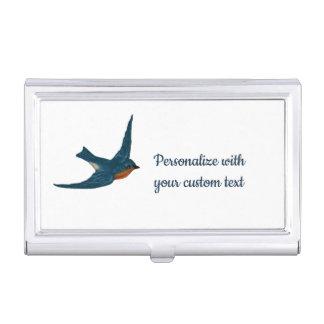 Boîtier Pour Cartes De Visite Oiseau bleu montant de texte de coutume de bonheur