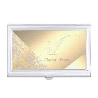 Boîtier Pour Cartes De Visite Or-Monogramme élégant et géométrique élégant de