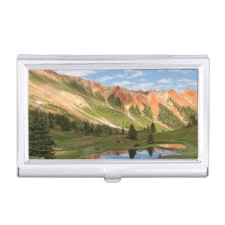 Boîtier Pour Cartes De Visite Réflexion rouge de montagne