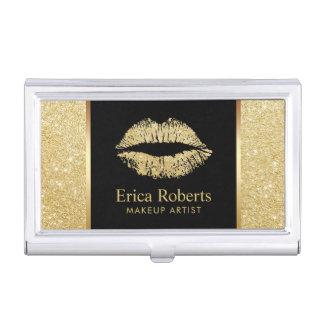 Boîtier Pour Cartes De Visite Salon de beauté de lèvres de scintillement d'or de