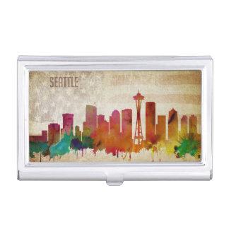 Boîtier Pour Cartes De Visite Seattle, horizon de ville d'aquarelle de WA |