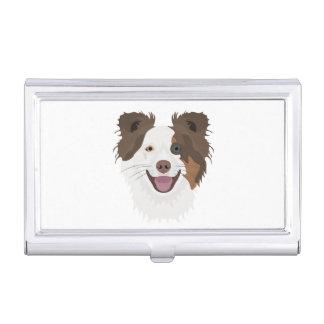 Boîtier Pour Cartes De Visite Visage heureux border collie de chiens