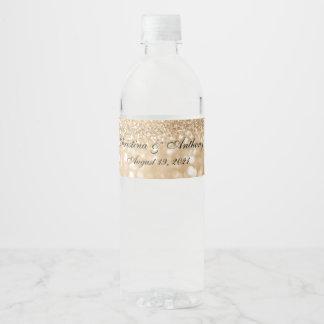 Bokeh fait sur commande allume l'étiquette de étiquette pour bouteilles d'eau
