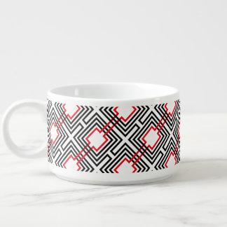 Bol À Chili Géométrique rouge et blanc noir