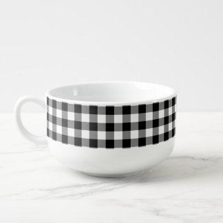 Bol de soupe blanc noir à motif de contrôle de