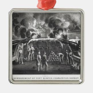 Bombardement de fort Sumter, port de Charleston Ornement Carré Argenté