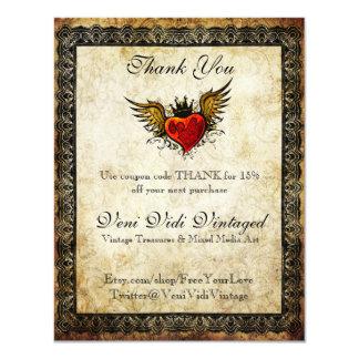 Bon de Merci de coeur à ailes par tatouage vintage Carton D'invitation 10,79 Cm X 13,97 Cm