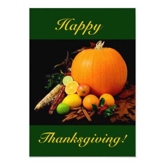 Bon thanksgiving avec le citrouille et le fruit I Invitations Personnalisées