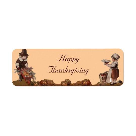 Bon thanksgiving d'enfants de pèlerin étiquette d'adresse retour