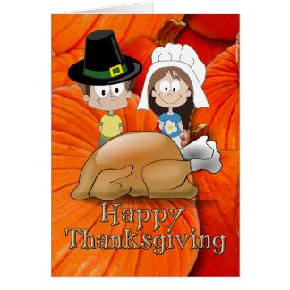 Bon thanksgiving - enfants de pèlerin - la Turquie Cartes