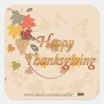 Bon thanksgiving - feuille, raisins et rubans autocollant carré