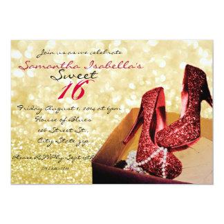 Bonbon 16 à étincelle d'or carton d'invitation  12,7 cm x 17,78 cm