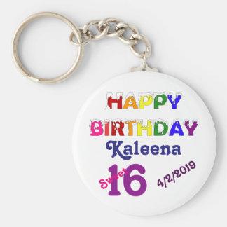 Bonbon 16 à joyeux anniversaire porte-clé rond
