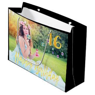 Bonbon 16 noir de sac de cadeau de photo de seize