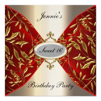 Bonbon 16 rouge et fête d'anniversaire de regard carton d'invitation  13,33 cm