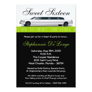 bonbon à limousine de vert de chaux 5x7 invitation