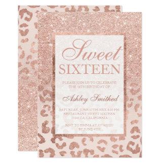 Bonbon chic 16 d'or de Faux à léopard rose de Carton D'invitation 12,7 Cm X 17,78 Cm