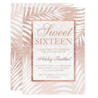 Bonbon chic 16 d'or de Faux à palmier rose de Carton D'invitation 12,7 Cm X 17,78 Cm
