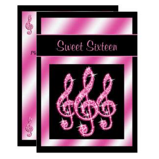 Bonbon élégant et assez rose 16 à clefs triples carton d'invitation  12,7 cm x 17,78 cm