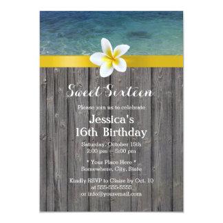 Bonbon en bois 16 à arrière - plan de fleur de carton d'invitation  12,7 cm x 17,78 cm