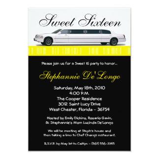 bonbon jaune à la limousine 5x7 invitation de 16