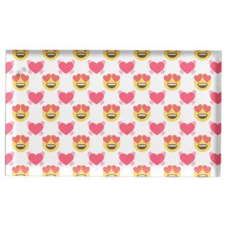 Bonbon mignon dans l'amour Emoji, motif de coeurs Porte-carte De Table