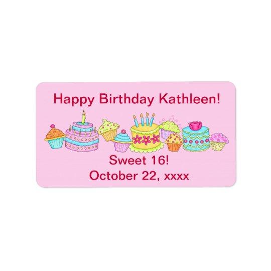 Bonbon rose 16 à joyeux anniversaire de /Cake de Étiquette D'adresse