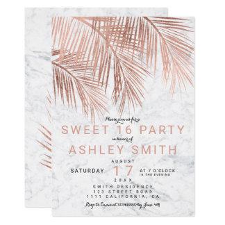 Bonbon rose 16 à marbre de palmier d'or de faux carton d'invitation  12,7 cm x 17,78 cm