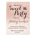 Bonbon rose 16 à ombre de scintillement d'or de carton d'invitation  12,7 cm x 17,78 cm
