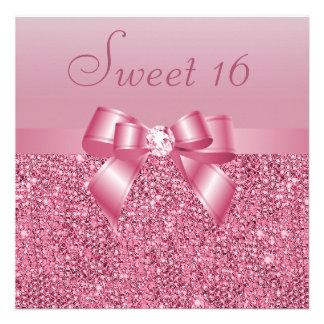 Bonbon rose 16 à paillettes à arc et à diamant bristols personnalisés