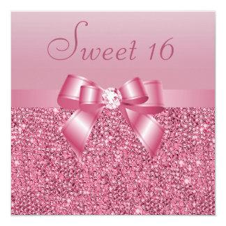 Bonbon rose 16 à paillettes, à arc et à diamant bristols personnalisés