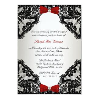 Bonbon rouge, blanc et noir 16 à dentelle carton d'invitation  12,7 cm x 17,78 cm