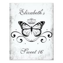 Bonbon royal noir élégant 16 à papillon carton d'invitation 10,79 cm x 13,97 cm