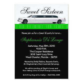 bonbon vert à la limousine 5x7 invitation de 16