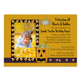 Bonbons au maïs - fête d'anniversaire de Halloween Carton D'invitation 12,7 Cm X 17,78 Cm