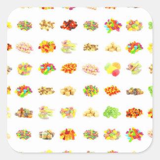 Bonbons et arrière - plan sans couture de motif de sticker carré