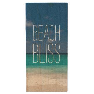 Bonheur de plage de l'eau de turquoise clé USB 2.0 en bois