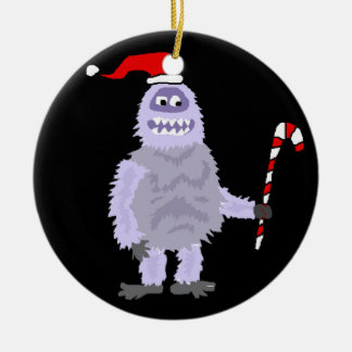 Bonhomme de neige abominable de Noël drôle Ornement Rond En Céramique