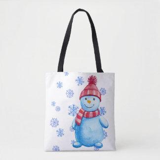 Bonhomme de neige avec des flocons de neige tote bag