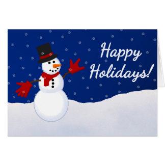 Bonhomme de neige avec je t'aime la carte de Noël