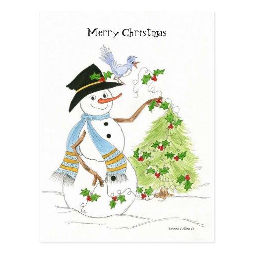 bonhomme de neige avec l 39 oiseau bleu carte postale zazzle. Black Bedroom Furniture Sets. Home Design Ideas